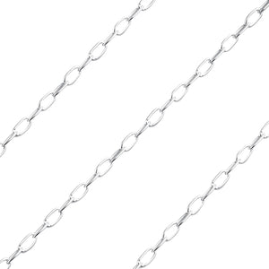 Sterling Silver Flat Oval Chain 1.8mm x 3.4mm (sold by the foot)