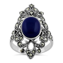 Load image into Gallery viewer, Sterling Silver Fleur de Lis Blue Lapis Marcasite Ring