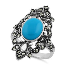 Load image into Gallery viewer, Sterling Silver Fleur de Lis Simulated Turquoise Marcasite Ring