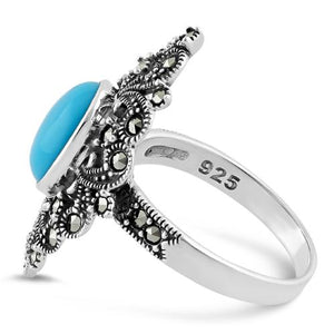 Sterling Silver Fleur de Lis Simulated Turquoise Marcasite Ring