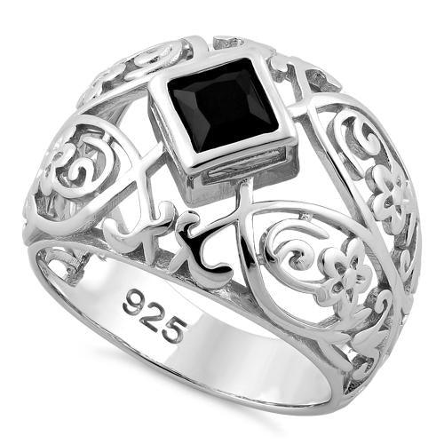 Sterling Silver Fleur-de-lis Flower Black CZ Ring