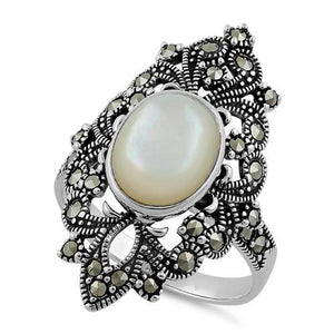 Sterling Silver Fleur de Lis Mother of Pearl Marcasite Ring