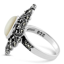 Load image into Gallery viewer, Sterling Silver Fleur de Lis Mother of Pearl Marcasite Ring