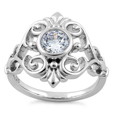 Load image into Gallery viewer, Sterling Silver Fleur-de-lis Vines Clear CZ Ring