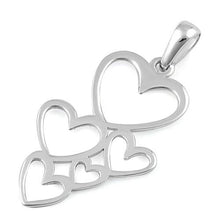 Load image into Gallery viewer, Sterling Silver Floating Hearts Pendant