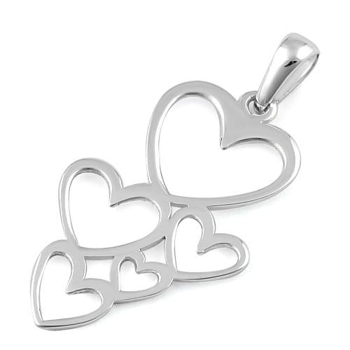 Sterling Silver Floating Hearts Pendant