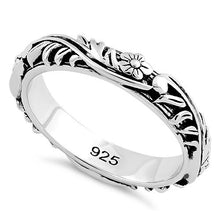 Load image into Gallery viewer, Sterling Silver Floral 3.5mm Band Ring