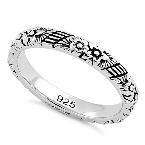 Sterling Silver Floral 3mm Band Ring