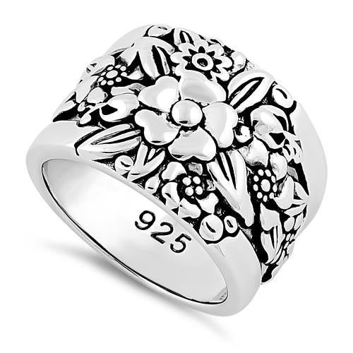 Sterling Silver Floral Design Ring