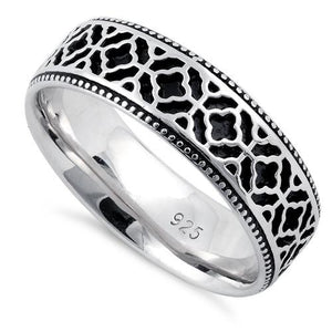 Sterling Silver Floral Pattern Ring