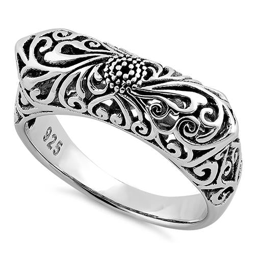 Sterling Silver Floral Statement Ring