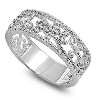 Sterling Silver Floral Vines CZ Ring