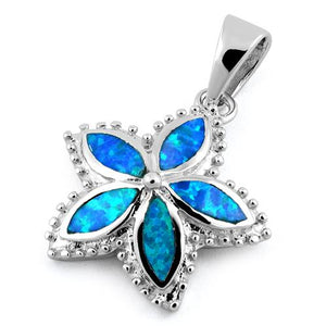 Sterling Silver Flower Blue Lab Opal Pendant