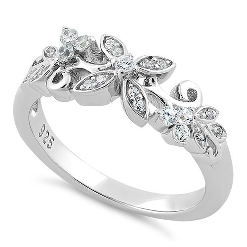 Sterling Silver Flower Clear CZ Ring