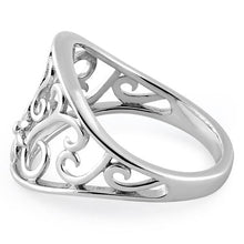 Load image into Gallery viewer, Sterling Silver Flower & Curly Vines Ring