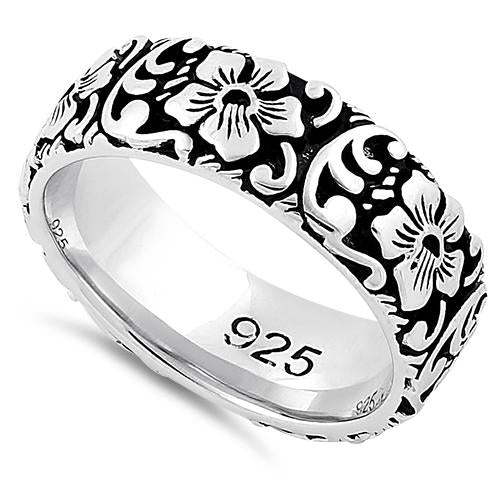 Sterling Silver Flower Garden Eternity Band