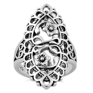 Sterling Silver Flower Heart Marquise Ring