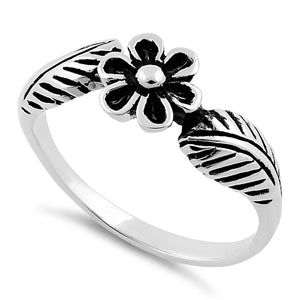 Sterling Silver Flower Leaf Ring