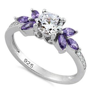 Sterling Silver Flower Leaves Amethyst Clear CZ Ring