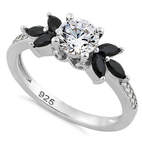 Sterling Silver Flower Leaves Black Clear CZ Ring