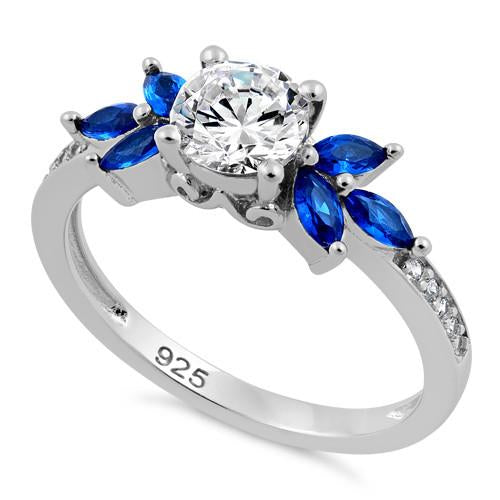 Sterling Silver Flower Leaves Blue Spinel Clear CZ Ring