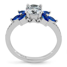 Load image into Gallery viewer, Sterling Silver Flower Leaves Blue Spinel Clear CZ Ring