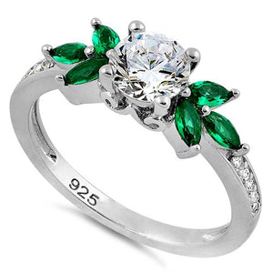 Sterling Silver Flower Leaves Emerald Clear CZ Ring
