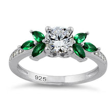 Load image into Gallery viewer, Sterling Silver Flower Leaves Emerald Clear CZ Ring