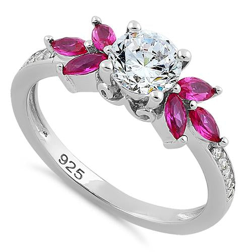 Sterling Silver Flower Leaves Ruby Clear CZ Ring
