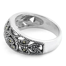 Load image into Gallery viewer, Sterling Silver Flower Marcasite Ring