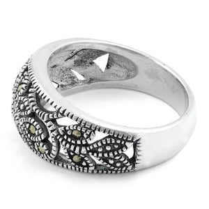 Sterling Silver Flower Marcasite Ring