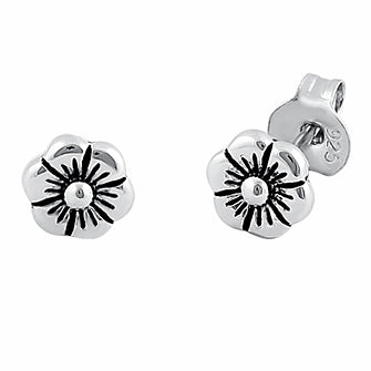 Sterling Silver Flower Plumeria Stud Earrings