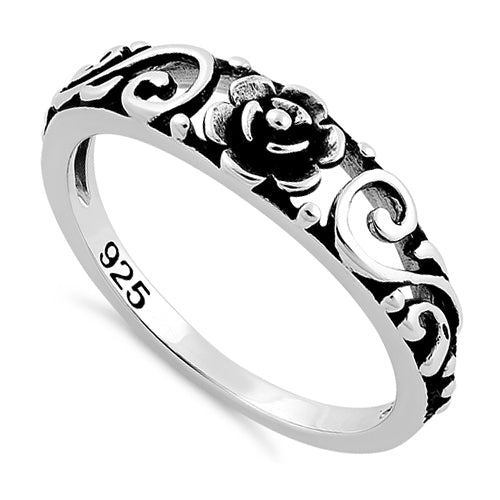 Sterling Silver Flower Swirl Ring