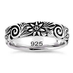 Sterling Silver Flower & Swirls Eternity Band