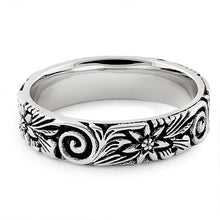 Load image into Gallery viewer, Sterling Silver Flower & Swirls Eternity Band