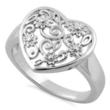 Load image into Gallery viewer, Sterling Silver Flower Vine Heart Ring