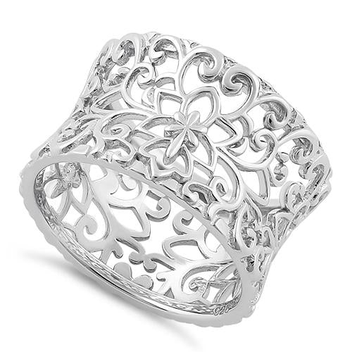 Sterling Silver Flower & Vines Eternity Ring