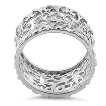 Load image into Gallery viewer, Sterling Silver Flower & Vines Eternity Ring