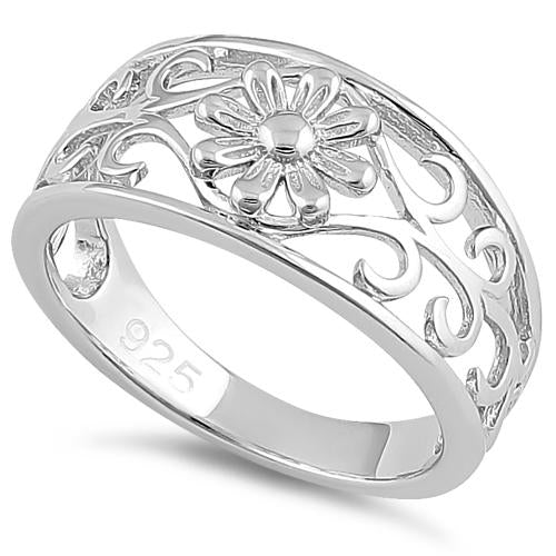 Sterling Silver Flower & Vines Ring