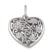 Load image into Gallery viewer, Sterling Silver Flowered Heart Pendant