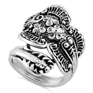 Sterling Silver Flowers Spoon Ring