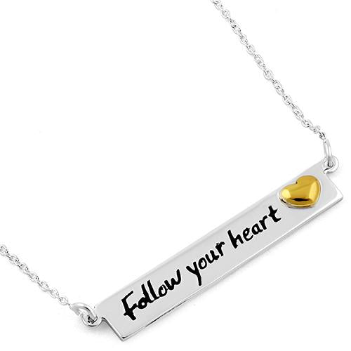"Sterling Silver ""Follow your heart"" Two-tone Necklace"