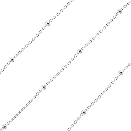 Sterling Silver Forzatina Rollo Chain 1mm (sold by the foot)