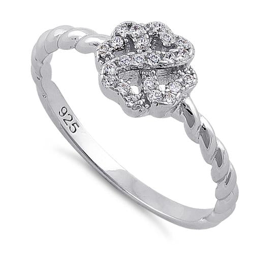 Sterling Silver Four Leaf Clover Heart Shaped Clear CZ Ring