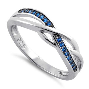 Sterling Silver Free Form Blue CZ Ring