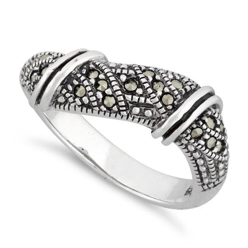 Sterling Silver Free-form Marcasite Ring