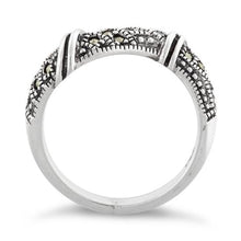 Load image into Gallery viewer, Sterling Silver Free-form Marcasite Ring