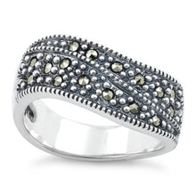 Load image into Gallery viewer, Sterling Silver Freeform Marcasite Ring