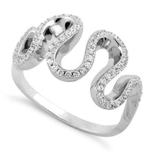 Load image into Gallery viewer, Sterling Silver Freeform Wavy CZ Ring
