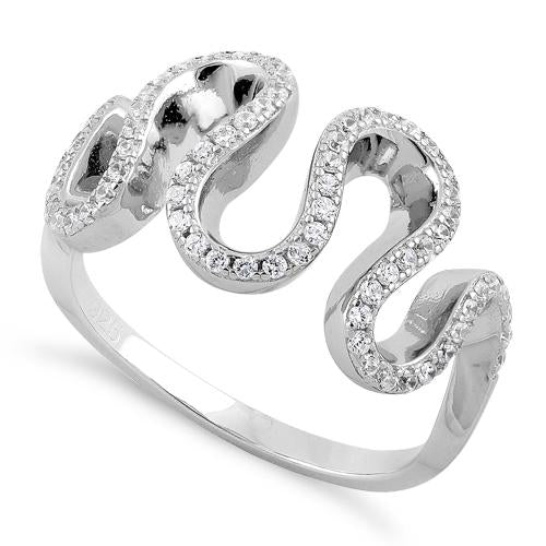 Sterling Silver Freeform Wavy CZ Ring